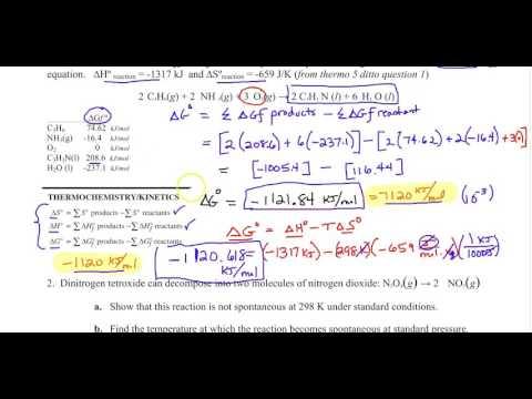 AP Chemistry - Non standard Gibbs free energy worksheet review