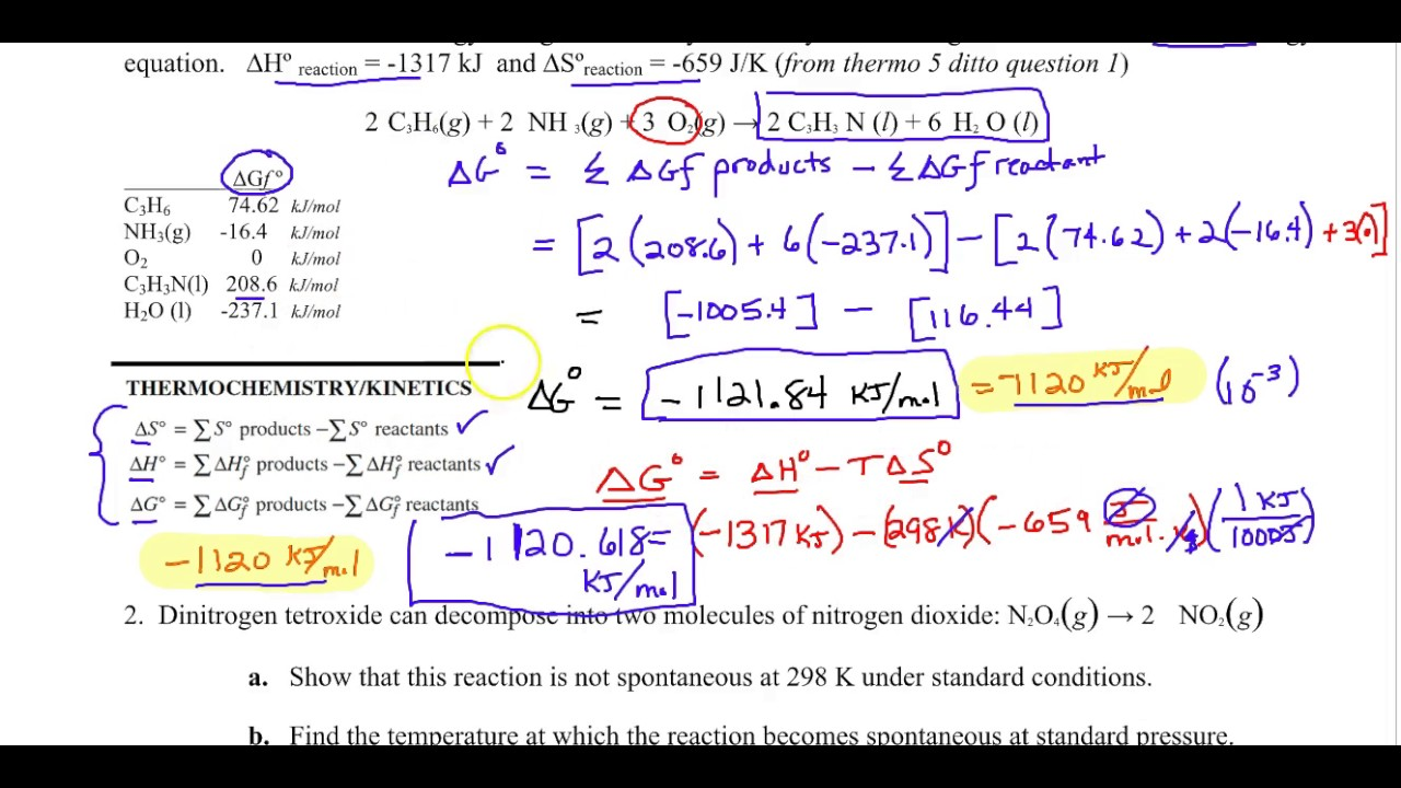 AP Chemistry Non standard Gibbs free energy worksheet review – Ap Chemistry Worksheets