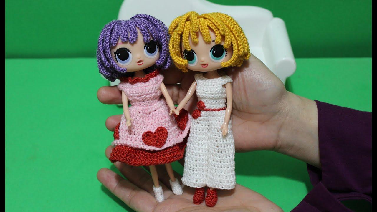 تلبيس الباروكة و الفستان الكروشية : العروسة الدمية DIY Crochet doll wig and dress