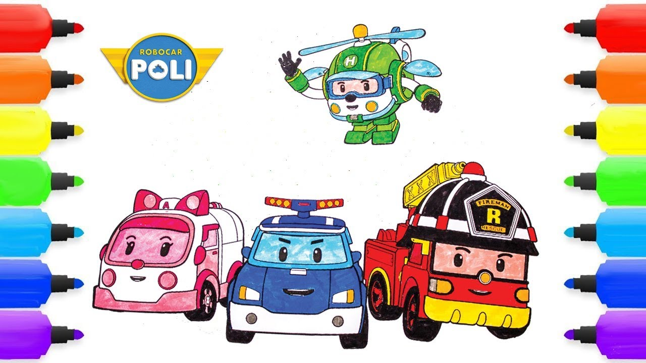 Coloring pages robocar poli roy heli amber robocar poli coloring kids children pages