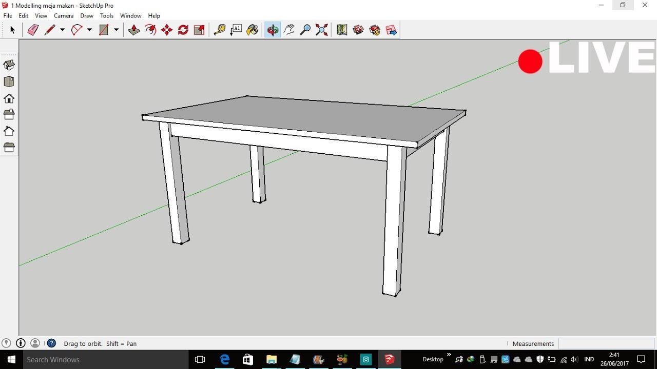 Sketch Up Tutorial 1 Modeling Meja Makan YouTube