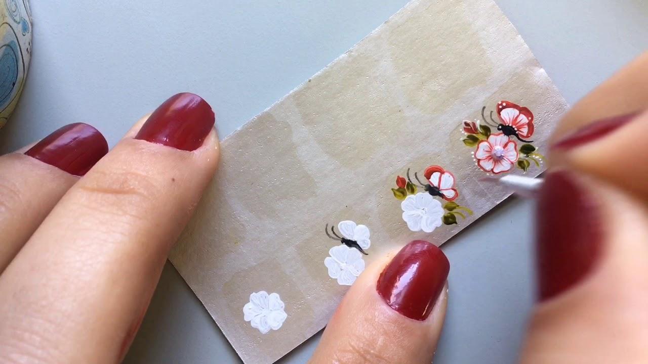 Adesivos De Unhas Na Caixa De Leite Passo A Passo Flor Com