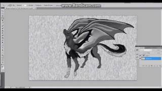 Speed Drawing Fantasy Winged Wolf