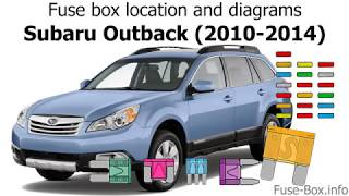 Fuse Box Location And Diagrams Subaru Outback Legacy 2010 2014 Youtube