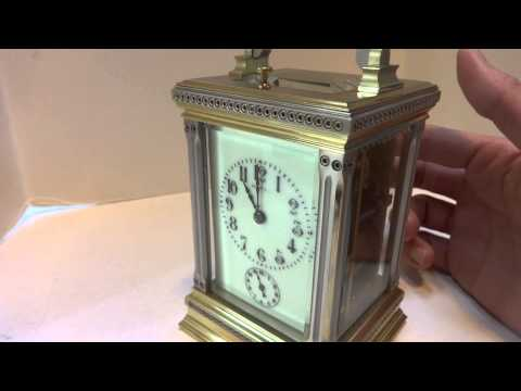 Antique Tiffany Striking Repeating Carriage Clock With Alarm