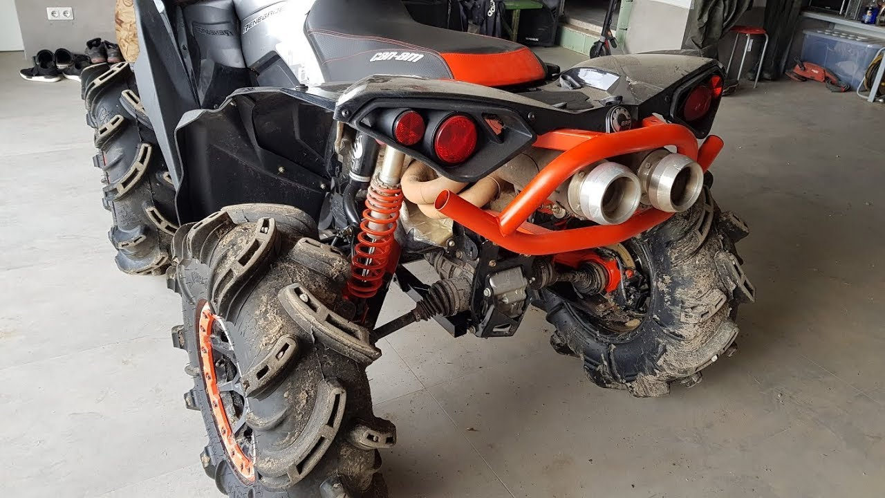 full dual mud edition rjwc slip on exhaust system can am renegade xmr 1000r