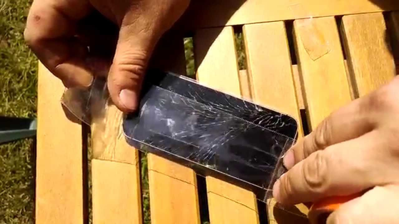 Clear Gorilla tape saves iphone 5 - YouTube