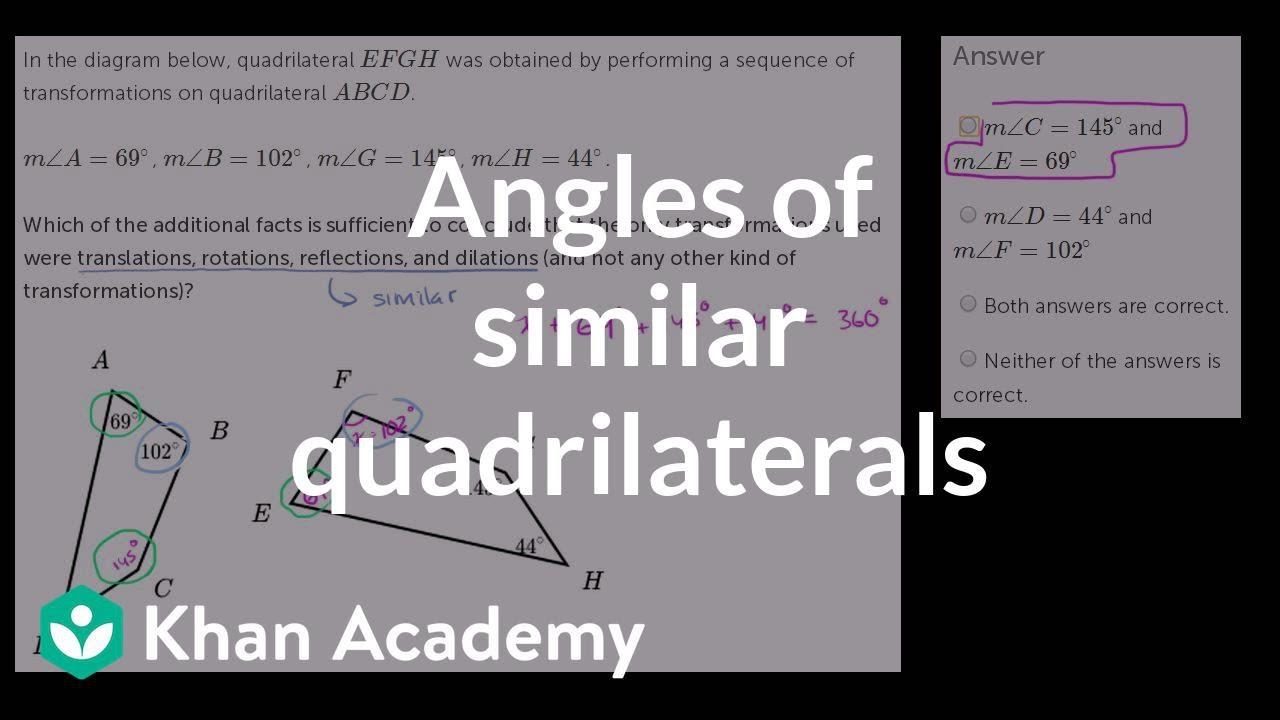 Quadrilateral similarity by showing congruent angles similarity quadrilateral similarity by showing congruent angles similarity geometry khan academy ccuart Images