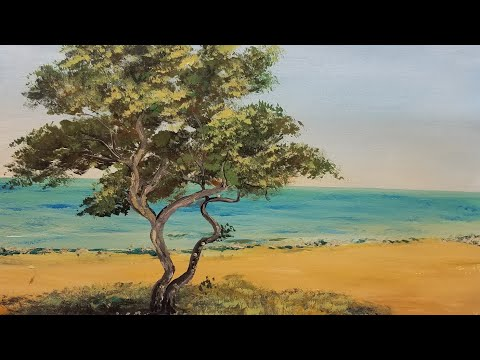 Beach Seascape Acrylic Painting with Cypress Tree LIVE Beginner Step by Step Tutorial