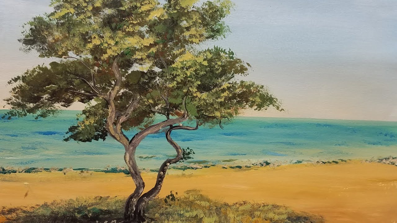 Beach Seascape Acrylic Painting With Cypress Tree Live