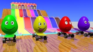 Çocuklar için Kaykay ve Sürpriz Yumurta ile Renkleri öğrenmek - Çizgi film Video