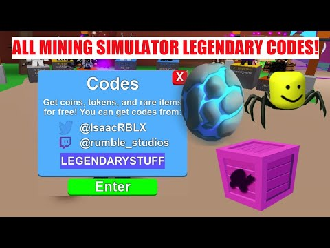 ALL LEGENDARY CODES IN MINING SIMULATOR!! || Roblox