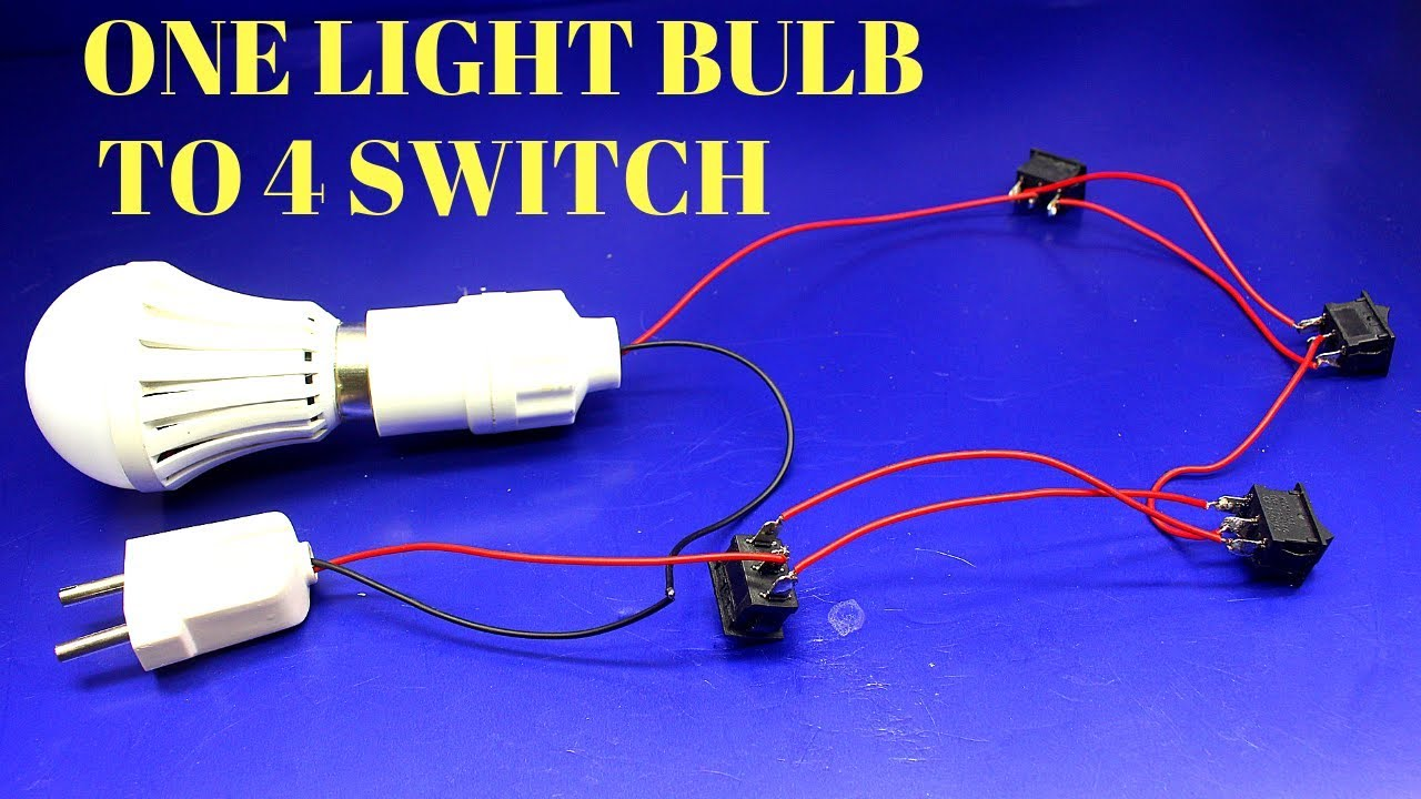 How To Make One Light Bulb From 4 Switch Control - Four Switch ...  Bulb Fluorescent Fixture Wiring Diagram on wiring led bulb, wiring light bulb, wiring accessory kit,