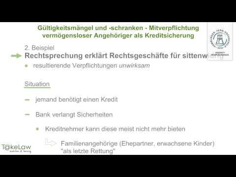 WPR1 (BGB AT) - 204/252 - Mitverpflichtung vermögensloser Angehöriger als Kreditsicherung