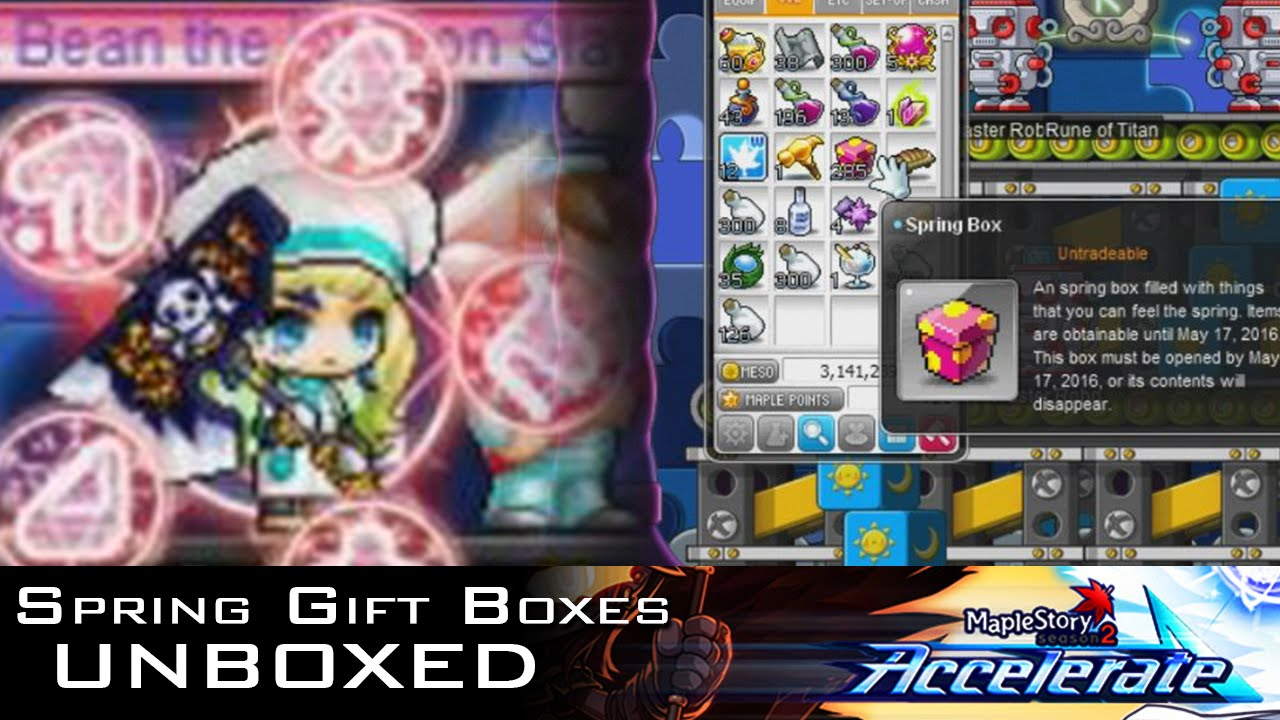 UNBOXED | Opening 300+ Spring Gift boxes (MapleStory) - YouTube