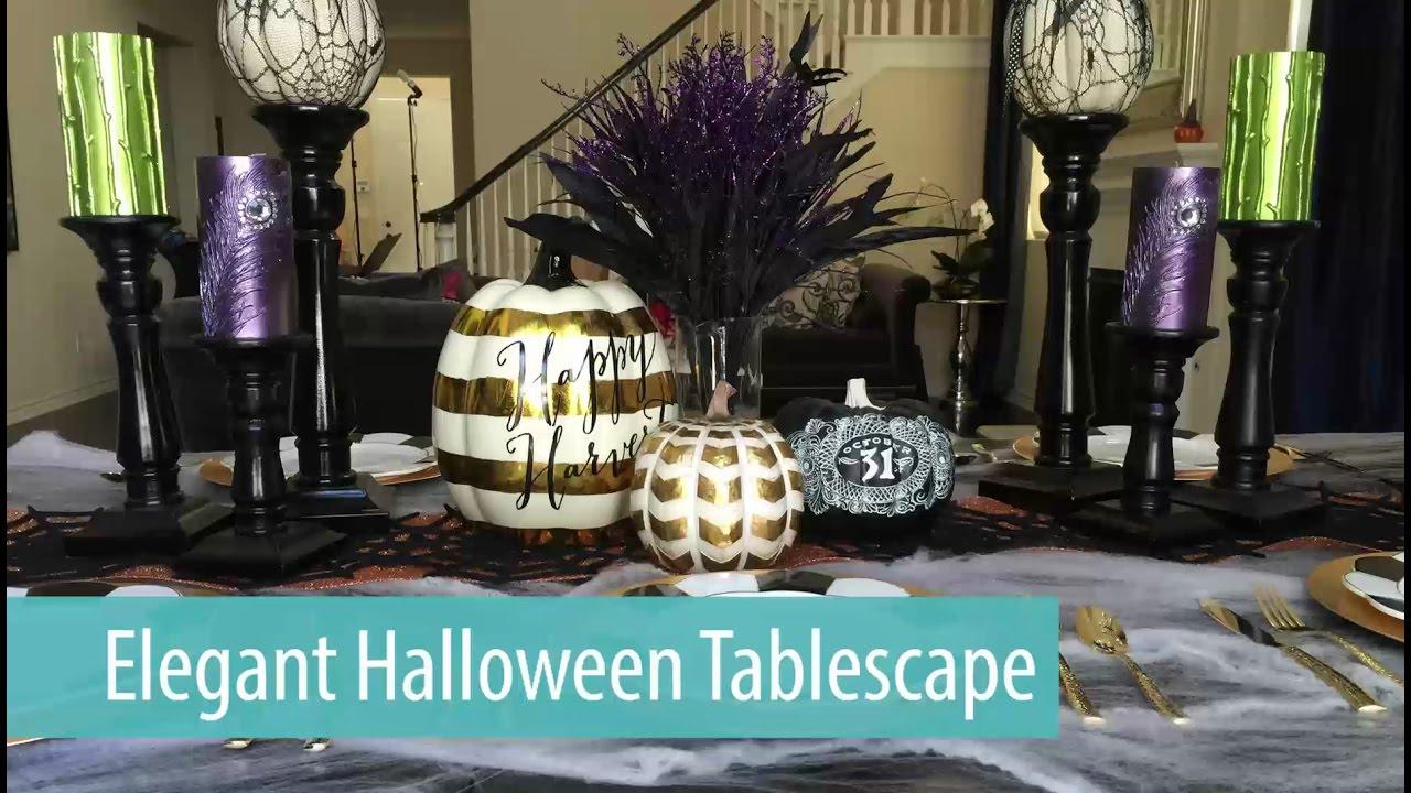 elegant halloween tablescape / table setting - youtube