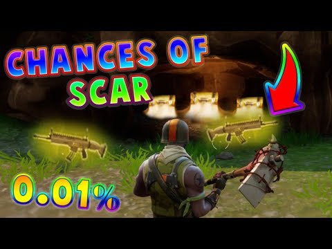 CHANCES OF GETTING LEGENDARY SCAR IN CHEST? (0.01%) FORTNITE BATTLE ROYALE