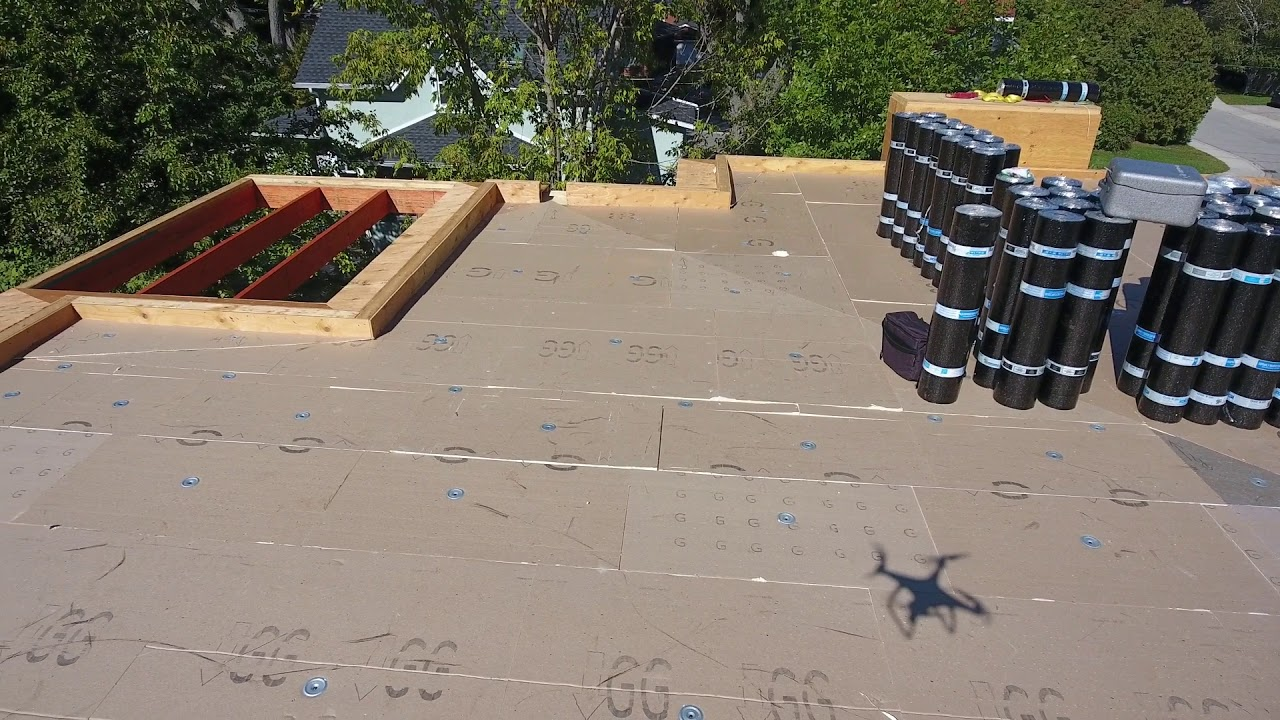 Burlington Ontario Modern Flat Roof Install Tapered Roof Sloped Insulation Youtube