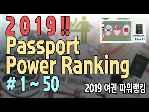 "2019 Passport Power Ranking ""#1-50""  Visa Free Countries(세계 여권 순위/무비자 Travel Korea Japan Singapore)"