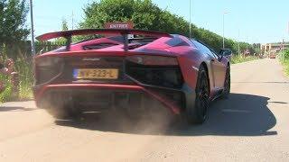 Supercars Arriving | Cars & Coffee XXL | Aventador S, Liberty Walk 458, Aventador SV, Spyker C8
