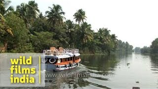 Kerala house boat gliding along the backwaters