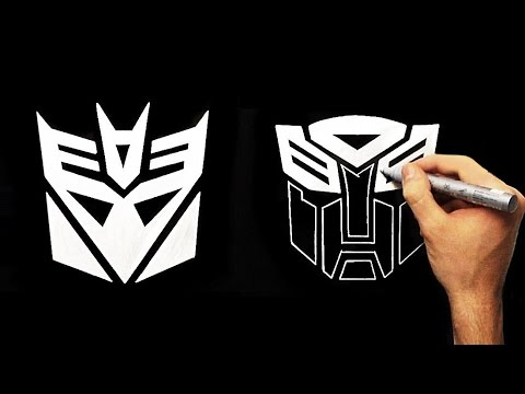 transformers decepticons and autobots logo how to draw silver
