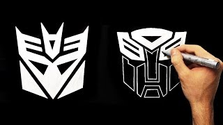 Transformers - Decepticons and Autobots Logo | How To Draw Silver Fan Art Drawing