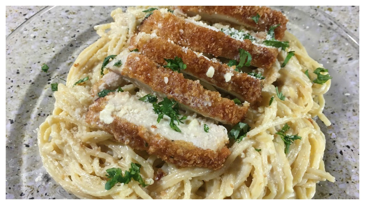 Parmesan Crusted Chicken with Creamy Alfredo Pasta - YouTube