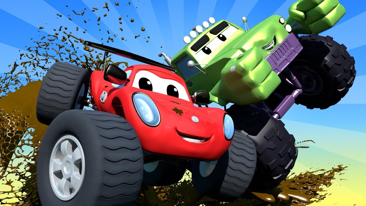 Monster Trucks Cartoons For Children Trucks & Cars videos for kids ! Monster Town Car City LIVE!