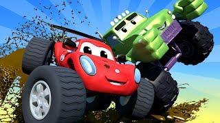 Monster Trucks Cartoons For Children Trucks amp Cars videos for kids  Monster Town Car City LIVE