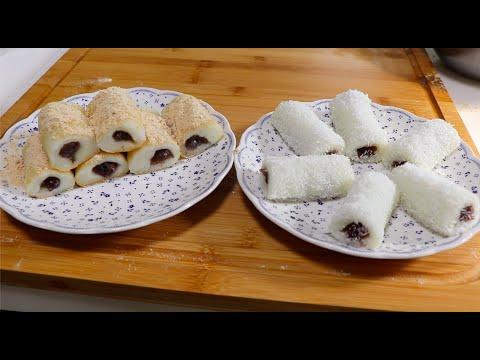 豆沙糯米凉糕,一拉一卷就做好了,软糯香甜好吃又简单