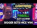 BIG Betting on Lightning Link Magic Pearl and Pinball Slot Machines! Nice WIN!