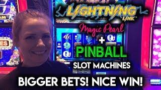 BIG Betting on Lightning Link Magic Pearl and Pinball Slot Machines! Nice WIN!