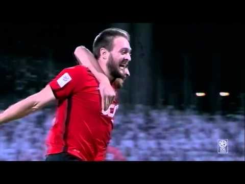 Nathan Otavio scores from the halfway line for Al Rayyan v Al Gharafa