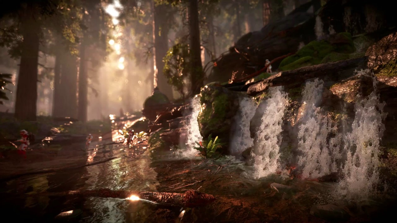 Star Wars Battlefront Endor Waterfall Fight Live Wallpaper Engine Youtube