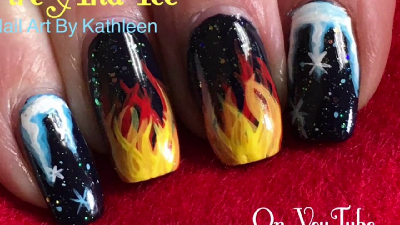 Fire And Ice Nail Art Tutorial Freehand Youtube