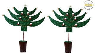 Christmas Tree from Waste Bottles and Glitter Sheet | Best Out of Waste | Just Craft