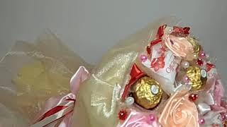 Обзор букета из конфет. Подарок своими руками, хендмейд