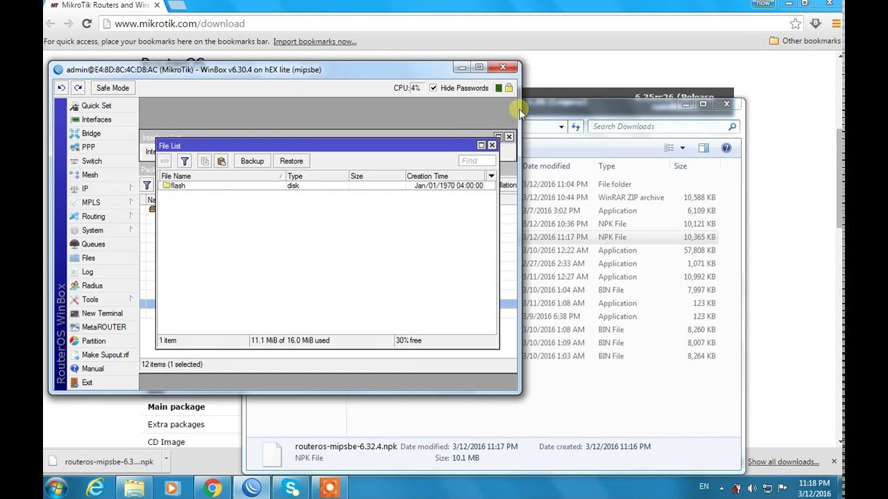 how to upgrade or downgrade mikrotik router