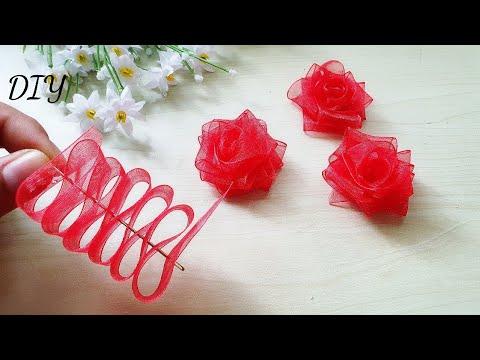 Make a red rose from a glas ribbon / DIY / Rose bow.//ดอกกุหลาบจากริบบิ้นแก้ว ไม่เย็บไม่ใช้ด้าย