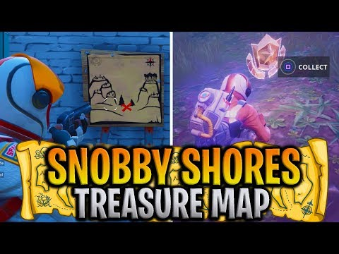"""Fortnite """"Snobby Shores Treasure Map Locations"""" CHALLENGE COMPLETED! - Fortnite Battle Royale"""