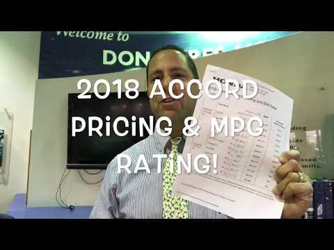2018 Honda Accord Official Pricing & MPG Rating