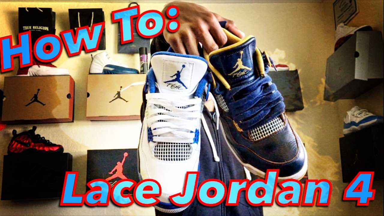 838e3f70199fd5 How To  Lace Jordan 4s - YouTube