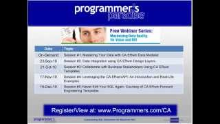 CA - Never Edit Your SQL Again Courtesy of CA ERwin Forward Engineering Templates