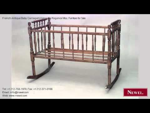 French Antique Baby Carriage Crib Cradle Regence Misc
