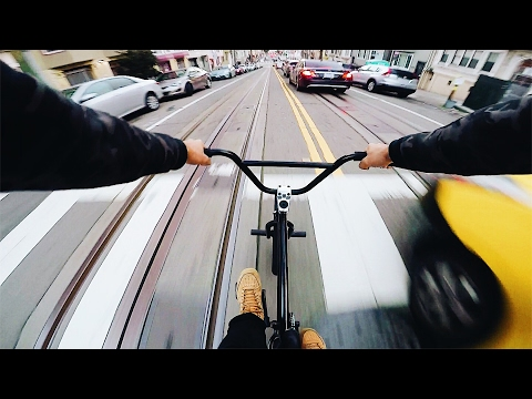 STEEP BMX HILL BOMBS IN SAN FRANCISCO *NO BRAKES*