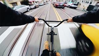 STEEP BMX HILL BOMBS IN SAN FRANCISCO *NO BRAKES*