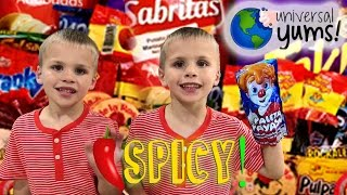 Kids Try HOT & SPICY Foods From Mexico || Universal Yums