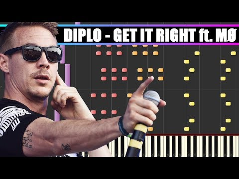 GET IT RIGHT Diplo ft MØ Piano Tutorial   SYNTHESIA + MIDI & SHEETS