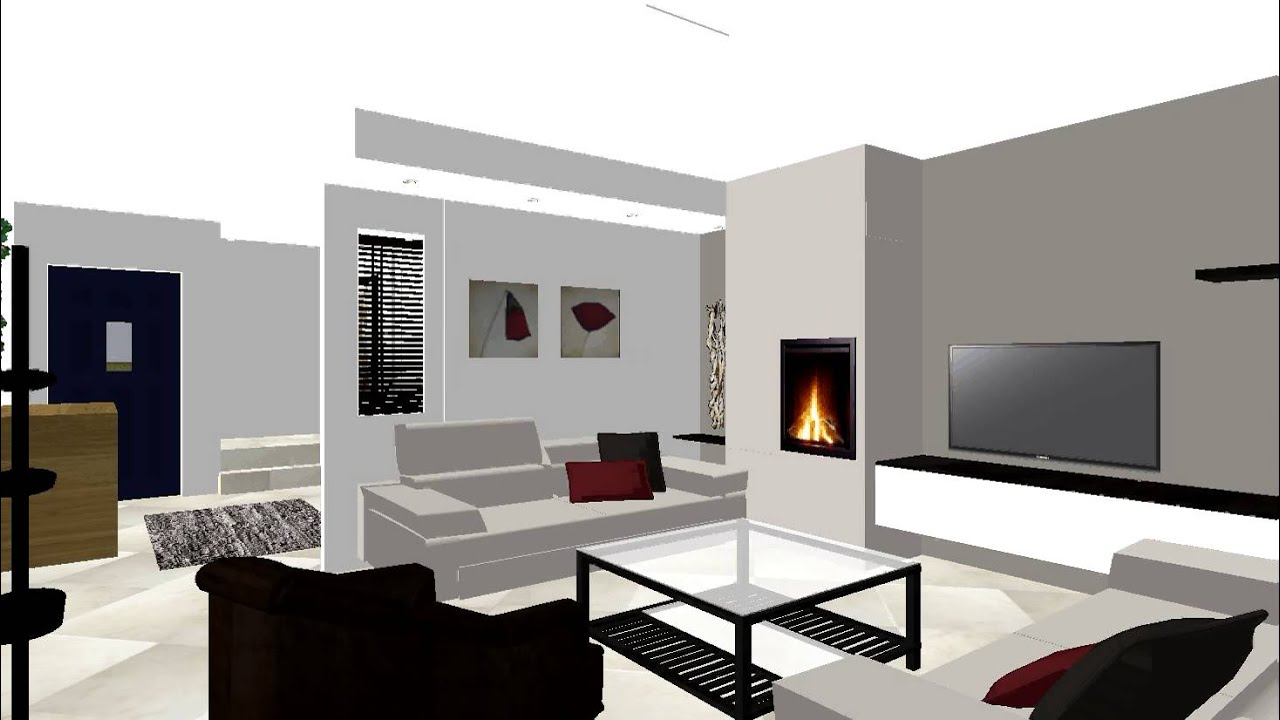 Salon Cheminee Moderne # Meuble Tv Integre Cheminee